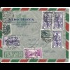 Italien 1954, 7 Marken auf attraktivem Luftpost Brief v. Imola n. Schweden