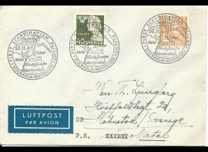 Schweden 1946, Erstflug Brief Stockholm-Montevideo, Etappe bis Natal, Brasilien