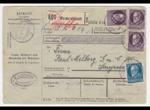 Bayern Türkei 1917, 3x80 Pf Friedensdr.+20 Pf auf Paketk. v Warmensteinach. #642