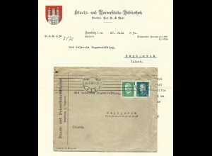 DR 1930, 5+20 Pf. auf Brief v.d. Uni Bibliothek Hamburg n. Island. Destination!