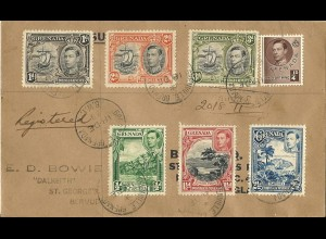Grenada 1939, 7 versch. Marken auf Einschreiben Brief n. Bermuda. Ankunftstempel