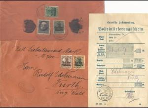 Bayern 1919, 5 Marken vs.+rs. portorichtig auf Wert Brief v. Donauwörth n. Furth