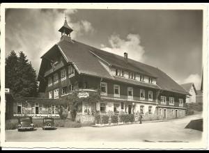 Schönwald Schwarzwald, Hotel Hirschen m. Oldtimer, 1940 gebr sw-AK