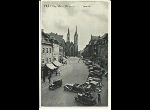 Hof, Altstadt m. Geschäften,Oldtimer u. Personen, 1942 gebr sw-AK