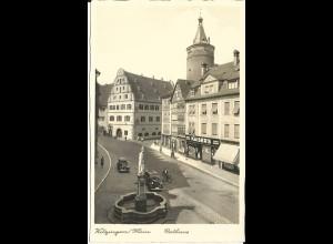 Kitzingen, Altstadt m. Geschäften, Oldtimer u. Personen, ungebr sw-AK