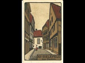 Alt Bielefeld, Am Damm, ungebr Künstler Farbdruck-AK