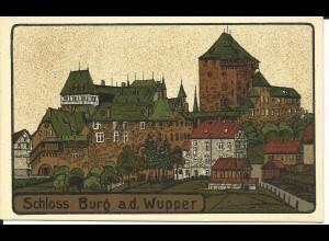 Schloss Burg a.d. Wupper, Solingen, ungebr. Künstler Steindruck-AK