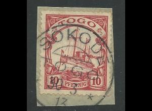 Togo 9, 10 Pf. auf Briefstück m. Stpl. SOKODE.