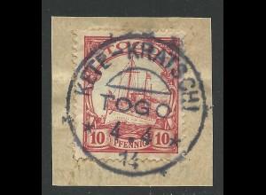 Togo 9, 10 Pf. auf schönem Briefstück m. seltenem Stpl. KETE-KRATSCHI.