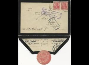 DR 1916, 2x10 Pf. auf Zensur Brief v. Stuttgart n. Tiberias, Palestina. #2519
