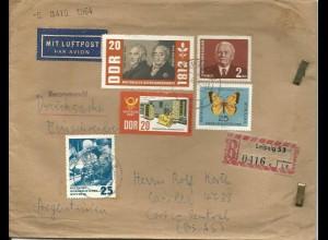 DDR 1964, 5 Marken auf Reko Luftpost Drucksache v. Leipzig n. Argentinien
