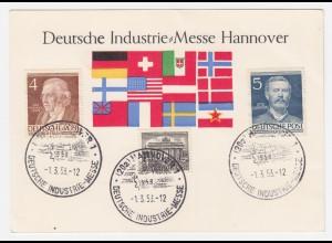 BRD 1953, Industrie Messe Hannover, Karte m. Sond.Stpl. u. Berlin Marken. #1445