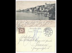 Kroatien 1905, sw AK Volosca, gebr. v. Abbazia m. Österreich Porto Marke. #1926