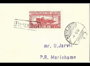 Island 1956, Paquebot u. Reykjavik auf Brasilien Schiffspost Brief n. Aaland
