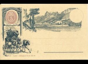 Schweiz 1893, ungebr. 5 C. Jubiläums Bild Ganzsache m. Pferde Post Kutsche