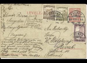Ungarn 1921, 3 Marken Zusatzfr. auf 10 F. Ganzsache v. Szeged n. Estland