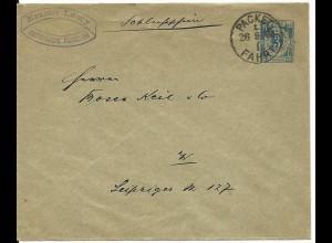 """DR 1893, Priv. Stadtpost Berlin, gebr. 3 Pf. Ganzsache Brief m. """"Schlußschein"""""""