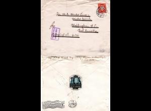Bayern 1910, EF 10 Pf. Sonderporto Brief v. Regensburg n. USA.