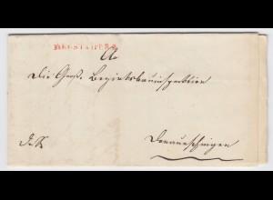 Baden 1844, rot L1 Neustadt R.2. klar auf Brief n. Donaueschingen. #1953