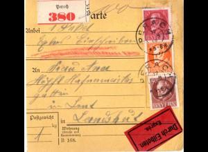 Bayern 1918, 3 Marken auf Einschreiben Eilboten Paketkarte v. PERACH n. Landshut