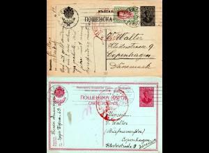 Bulgarien 1916/17, 2 Ganzsache Karten m. Zensuren v. Sofia n. Dänemark