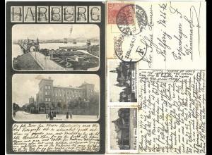 Harburg, 2 Vignetten auf schöner sw AK m. 10 Pf. n. Dänemark