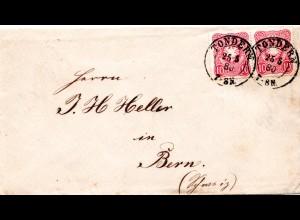 DR 1880, Paar 10 Pfge. auf Brief m. Schleswig-Holstein K2 Tondern i.d. Schweiz