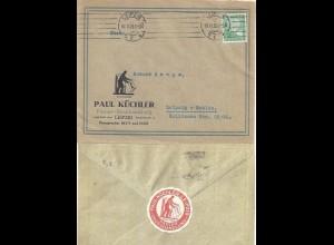 "DR 1925, Leipzig Werbung Reklame Orts Brief ""Paul Küchler"" m. 5 Pf . #1440"