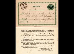 Schweden 1891, 5 öre Ganzsache m. rs. Zudruck Naturwissenschaftl. Gesellschaft