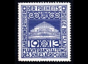 Breslau, Schlesien, blaue Aviatik Flugvignette 1913. #S374