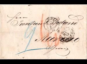 Sachsen 1859, K2 LEIPZIG auf Porto Brief via Taxis u. Baden Bahnpost i.d Schweiz