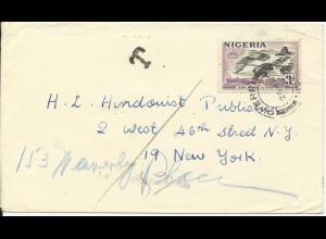 "Nigeria 1958. 3d Eisenbahn Brücke auf Porto Brief ""T"" n. USA. #1004"