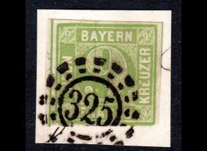 Bayern, allseits breitrandige 9 Kr. auf schönem Briefstück m. oMR 325.