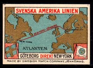 Svenska Amerika Linie Göteborg - NY, bunte Schiffahrt Vignette