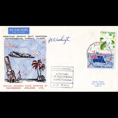 Cook Islands 1966, Experimental Flight Aitutaki Rarotonga, Brief m. Ank.Stpl.