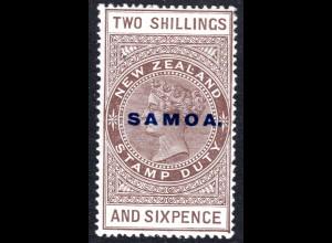 Samoa SG 165, 2 Sh.6d overprinted revenue, Cowan Paper, unused item