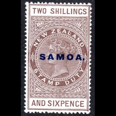 Samoa SG 166, 2 Sh.6d overprinted revenue, Cowan Paper, unused item