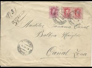 Spanien 1929, Einschreiben Brief m. 3 Marken n. Canal Zone. Destination!! #2440
