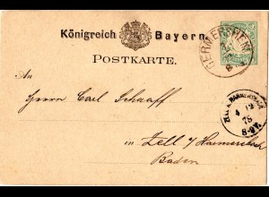 Bayern 1878, K1 GERMERSHEIM auf 5 Pf. Ganzsache m. Baden K1 Zell A. Harmersbach