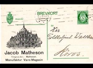 Norwegen P69, 5 öre Ganzsache v. Trondheim m. illustriertem Zudruck J. Matheson