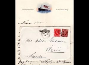 GB 1936, 1+1 1/2d auf Queen Mary Paquebot Schiffsbrief m Frankreich K1 Cherbourg