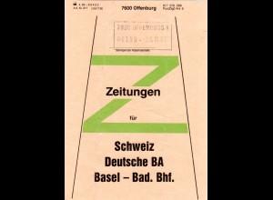 BRD 1986, Offenburg, Briefbundzettel f. Zeitungen n. Basel Bad. Bahnhof, Schweiz