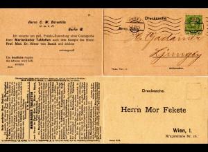 Österreich 1909, 5 H. Privat Ganzsache m. Antwortteil v. Wien n. Schweden
