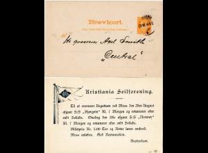 Norwegen 1898, gebr. 3 öre Ganzsache m. rücks. Zudruck Christiania Segel Klub