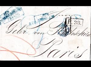 Russland 1866, Porto Brief v. Odessa n. Frankreich m. diversen Transit Stempeln