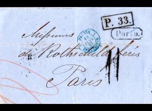 Russland 1865, Porto Brief v. St. Petersburg n. Frankreich m. Transit Stempeln