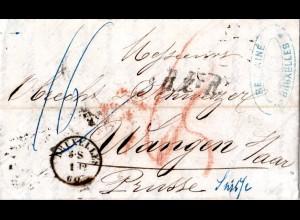 Belgien 1860, K1 BRUXELLES u. B2eR auf Porto Brief pr. Preussen i.d. Schweiz