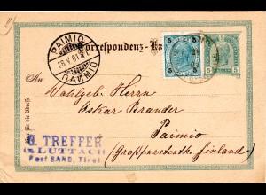 Österreich 1901, 5 H. auf 5 H. Ganzsache v. Sand in Tauferthale n. Finnland