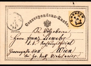 Österreich 1873, kl. K1 GMUNDEN klar auf 2 Kr. Ganzsache