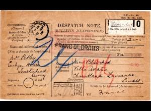 "GB 1919, Formular Parcel Dispatch Note v. Leatherhead i.d. Schweiz. Porto ""15"""